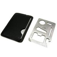 herramienta de tarjeta multi bolsillo al por mayor-Multi Tools 11 en 1 multifunción supervivencia de caza al aire libre que acampa de bolsillo tarjeta de crédito militar cuchillo plata