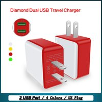 Wholesale Diamond Dock - Factory US Plug Diamond Dual USB Travel Charger Wall Charger AC Power Adapter for Iphone Ipad samsung galaxy tablet Smartphone Fast Shipping