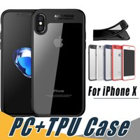 Wholesale Tpu Hard Case - Transparent Soft TPU Hard Clear PC Phone Back Case Shockproof Cover For iPhone X 8 7 6S 6 Plus Samsung S8 S9 Plus Note 8