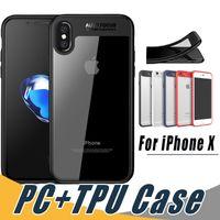 estuche rígido de pc al por mayor-Transparente Soft TPU Hard PC Clamp PC Back Case a prueba de golpes para el iPhone X Xr Xs Max 8 7 6S 6 más Samsung S8 S9 Plus Note 9 8