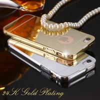 aluminiumtelefonkasten brieftasche großhandel-50 stücke spiegel case für iphone 6 4,7 zoll luxus acryl + aluminium dünne rückseitige abdeckung für iphone 6 plus 5,5 handy coque
