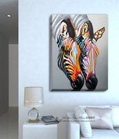 Wholesale Life Size Zebra - Framed Colour Zebra,Pure Hand Painted Modern Home Wall Decor Abstract Art Oil Painting On High Quality Canvas.Multi sizes Free Shipping A028