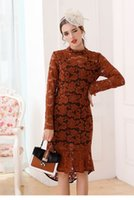 Wholesale Heavy Collar - 2017 autumn new style heavy hollow water soluble lace stand collar long sleeved dress fishtail lotus flower