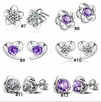 Wholesale Sterling Silver Edition - 2018 S925 pure silver ornaments Sterling silver earrings Han edition women's earrings allergy Micro inlay zircon jewelry earring