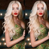 Wholesale wavy platinum blonde - Top Quality 613 Full Lace Human Hair Wigs Platinum Blonde Vrigin Peruvian Wavy Blonde Human Hair Wig With Bleached Knots And Baby Hair