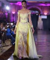 вечерние платья оптовых-Кружевное пятно поверх юбки Вечерние платья выпускного вечера арабского возлюбленного Дубая с длинными рукавами 2019
