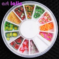 Wholesale Fimo Designs - Wholesale- 200 pcs 3D Polymer Clay Tiny Fimo Fruit slices Wheel Nail Art DIY Designs Wheel Nail Art Decorations Wholesale