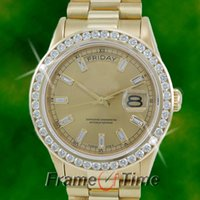 Wholesale 41 Mm - Luxury Watches High Quality Mens 41 MM President 18k Gold Champagne Baguette Diamond Watch 18038