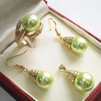 12mm rote perlen halsketten großhandel-Großhandel Choker Schmuck Sets für Frauen Anime Hochzeit Charming 12mm Red Shell Perle Anhänger Halskette Ohrringe Ring Set