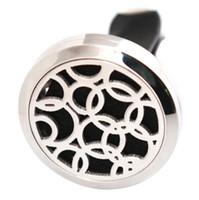 ingrosso cerchio aroma-Monili di modo Cerchio 30mm Diffusore 316 In Acciaio Inossidabile Ciondolo Auto Aroma Locket Olio Essenziale Auto Diffusore Medaglioni Free 100 pz Pastiglie