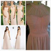 junior vestidos rosa claro al por mayor-5 estilos mixtos baratos vestidos de dama de honor de gasa larga país luz rosa Convertible estilo Junior dama de honor vestidos de fiesta de la boda