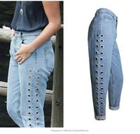 Wholesale Womens Boyfriend Jeans - 2017 Fashion Rivets Ripped High Waist Jeans Straight Eyelet Detail Boyfriend Style Denim Jeans Womens Rivet Pants Female Jeans plus size
