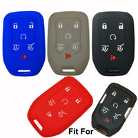 Wholesale Key Fob Remote Cover - Silicone Car Key Fob Remote Cover Case Protector for 2015 2016 GMC YUKON CHEVROLET SUBURBAN TAHOE 6 buttons smart key Holder protector