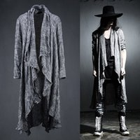 Wholesale Mens Purple Cardigan Sweater - Wholesale- Mens Long Sleeve Linen Fold Retro Shawl Cardigan Trench,Males Long Pull Style Punk Rock Fashion Sweaters Coat Men Outerwear,Q64