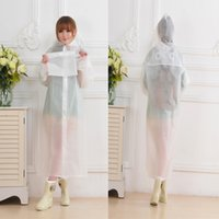 Wholesale Door Cuffs - Long raincoat Pure white translucent double door with double cuffs for adult children's raincoat free shipping