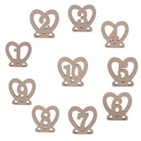Wholesale table numbers stands - 10pcs set 1-10 Wodden Wedding Table Numbers Heart Shaped Party Table Number Tag Stand Wedding Table Decoration