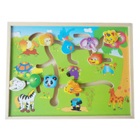 Wholesale Wooden Toys Maze - Wholesale- Educational Logico Wooden Labyrinth Plane Puzzles Animal-Body-Match Maze Intelligence Early Learning children Kids Toys WJ330