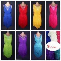 Wholesale Latin Dance Dress Women Salsa - New Adult Latin Dance Dress Salsa Tang Cha cha Ballroom Competition Tassels Rhinestones Group Dance Dress 5Color S-XXL Customizable