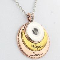 18 mm altın toptan satış-Altın Ayar Takı Uzun Zincir Boncuk Metal Snap Düğmesi kadın Kolye Bohemian Aşk Umut Kolye (Fit 18mm oturana)