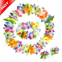 Guirnalda Artificial De La Flor Hawaiana Baratos-2017 Multicolor Hawaiano 10 Piezas Fiesta Artificial Flor Lei Collar Fancy Dress Garland Pulsera Decoración De La Boda Flores De Seda