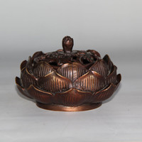 Wholesale Chinese Silk Ornaments - Chinese carved Pure bronze lucky Maeked Lotus Flower Incense Burner Censer Incensory Statue home decoration