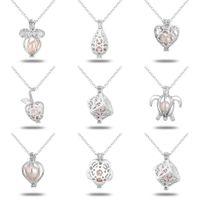 18kgp necklace großhandel-Wholeasle (einschließlich Kette) 18kgp Fashion Love Wish Perle / Perlen Medaillon Anhänger DIY Perlenkette Charm Anhänger Halterungen