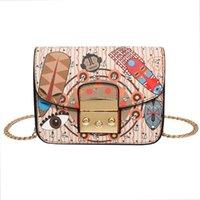 Wholesale Wave Handbag - Luxury Handbags Designer Handbags Women Hit Color Printing PU Leather Bags New Wave Handbag Brand Fashion Female Shoulder Messenger Bag