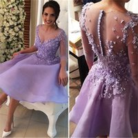 Wholesale Three Quarter Sleeve Organza - Beaded Lavender Organza Short Homecoming Dresses with Three Quarter Long Sleeves 2017 Sheer Neck Pearls Lace Applique Prom Party Gowns