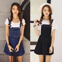 Wholesale Cotton Twill Skirts - S-L 2017 Korea Style Summer Womens Denim Skirts Overalls Denim Jumpsuit Denim Spaghetti Strap Short One-piece Straps Line Skirts Womens 888