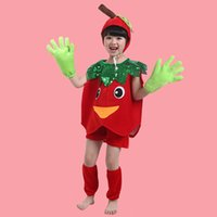 Wholesale Apple Clothes Kids - Hot sale Children Cosplay Costumes Kids Clothing Set Children Apple Masquerade Party Clothes Children's Dance Costume free shopping