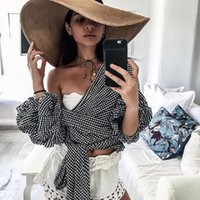 Wholesale Bow Tie T Shirt - 2017 New Fashion Wholesale Bow Tie T-Shirts Sexy Deep V Off The Shoulder Lantern Sleeve T-shirt For Women's Clothing