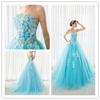 Wholesale Dress Quinceanera Organza Strapless - 2017 Sweet 15 Appliques Quinceanera Dresses Ball Gowns Floor Length Blue Fashion Women Big Girls Catwalk Celebrity Prom Dance Party Gowns