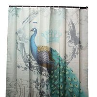 Wholesale Peacock Curtains - Wholesale- Hot Sale 180 x 180cm Colour Waterproof Polyester Printed Shower Curtain Peacock Feather w 12 Hooks Bathroom Decor Gift