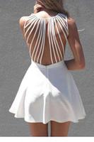 Wholesale Strappy Back Mini Dress - Wholesale- Dower Me Pure V neck mini robe retour tassel femmes sexy push up volants robes de white strappy back sleeveless skater dress