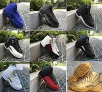 Wholesale Purple Wing Shoes - Wholesale Retro 12 XII THE MASTER BLACK GOLD Basketball Shoes Sports Shoe Mens womens Athletics White OVO Wings French blue women Sneaker