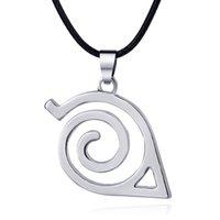 Wholesale Konoha Pendant - New Naruto Necklace Alloy Naruto Konoha Ninja Sign Pendant Necklace for Women Men Fashion Jewelry 161116