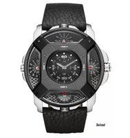 Wholesale Deal Watch - GaGa Deal! Famous Watches Men Luxury Brand Leather Strap Quartz Dual Time Zone Analog Date Men Sport Military Oversize Wristwatch
