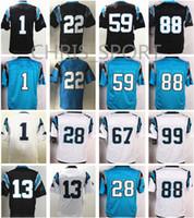 Wholesale Christian Mix - Elite football jerseys #1 Cam Newton Christian McCaffrey Luke Kuechly Ryan Kalil Thomas Davis 88 Greg Olsen Carolina jerseys mix order