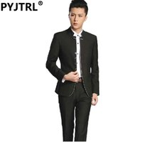 Wholesale Chinese Fashion Tunic - Wholesale- (Jacket+Pants) Fashion Chinese Tunic Suit Stand Collar Popular Black Leisure Man's Groom Dress Latest Coat Pant Designs S-3XL