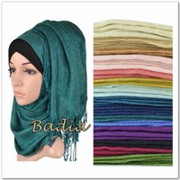 Wholesale Wholesale Long Muslim Shawl - Wholesale- one shimmer solid plain glitter hijab scarf shinny metallic long scarves tassel muslim viscose lurex shawl islamic head wraps