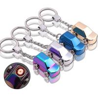 metal usb key ring großhandel-Heißes kreatives USB-Miniauto-Feuerzeug Keychain Metall Portable Auto SUV, das windundurchlässigen USB-aufladbare Zigarette Rauchfeuerzeug-Schlüsselring Gerät entwirft