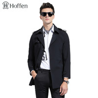 Wholesale Trenchcoat Style - Wholesale- Hoffen 2017 spring fashion classic trench coat men turn down collar single breasted slim fit mens overcoat solid trenchcoat WS62