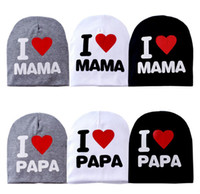Wholesale Baby I Love Mama - Baby hat knitted warm cotton toddler beanie baby cap kids girl boy I LOVE PAPA MAMA print kid hats