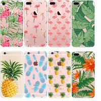 Wholesale Iphone 5c Clear Tpu Transparent - Fruit Pineapple flamingo Clear TPU Case For iPhone 7 6 6S Plus 5S 5C Galaxy S6 S7 S8 edge Transparent tpu Cases