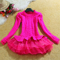 Wholesale korean orange sweater - Wholesale-Autumn Winter Pullover Women Knitted Sweater 2016 New Korean Fashion Organza Patchwork Ruffled Bottom Peplum Tops Ladies Jumpers