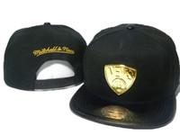 Wholesale Mitchell Ness Football Hats - Free Shipping Black Men Snapback caps metal logo football mitchell &ness Snapback Hats sports team hats Men and Women Caps 5 styles DD