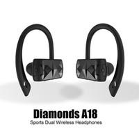 elmas 3.5mm toptan satış-A18 Diamonds TWS Kulaklık Spor Çift Kablosuz Kulaklık Handfree Stereo Bluetooth Kulaklık Mini Kulaklık HD Çağrı