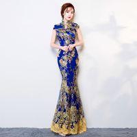 Wholesale Traditional Wedding Cheongsam - Traditional Chinese Dress Long Cheongsam Qipao Dresses Robe Chinoise Oriental Style Wedding Qi Pao Vintage Dresses