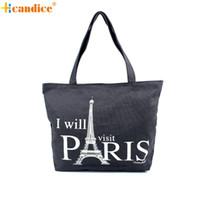 Wholesale Eiffel Shopping Bag - Wholesale- Umhangetasche Women Canvas Handbag Shopping Shoulder Bag Paris Eiffel Tower Bookbag Tote women messenger bags Lady's bag OT10