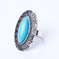 Wholesale Vintage Retro Ring Silver - European Royal Big Oval Howlite Stone Tibetan Silver Color vintage retro Exaggerated RING jewelry HD-223